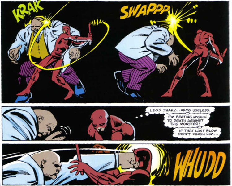 Daredevil Vs Kingpin Daredevil takes a few whacks